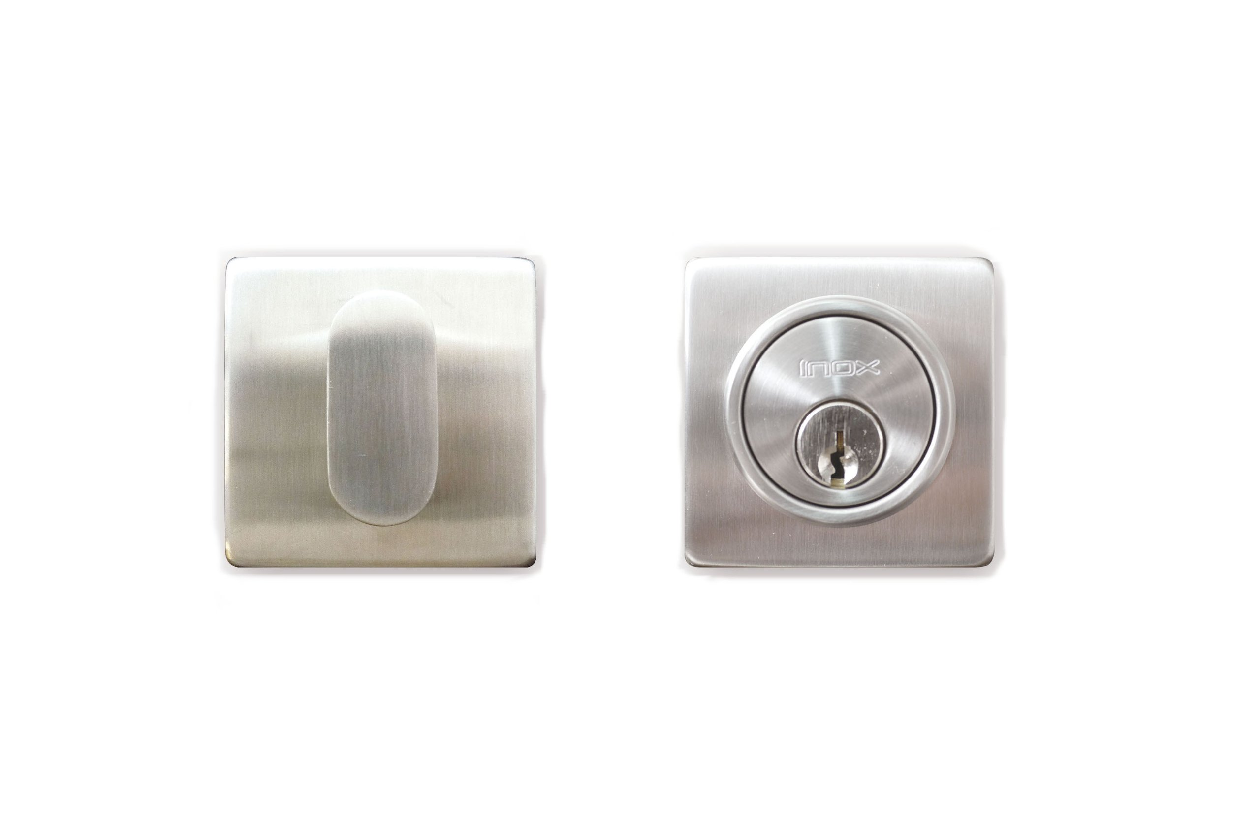 INOX LD310B6-32D Square Single-Cylinder Deadbolt with 2-3/8'' Diameter and 2-3/8'' Basket, Satin Stainless Steel