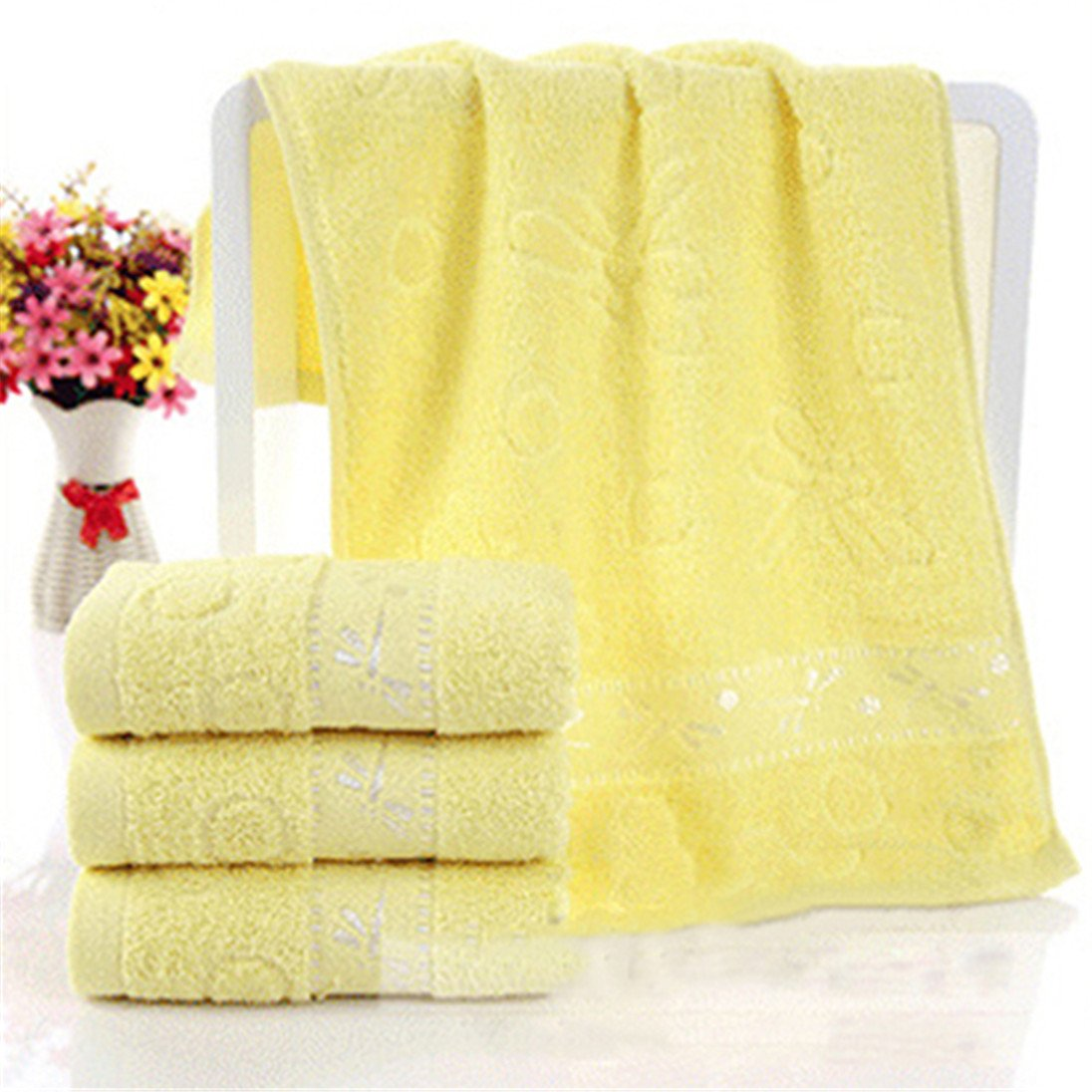 Colorido Dragonfly Pattern Soft Breathable Absorbent Household Bath Face Towel size Medium (Yellow)