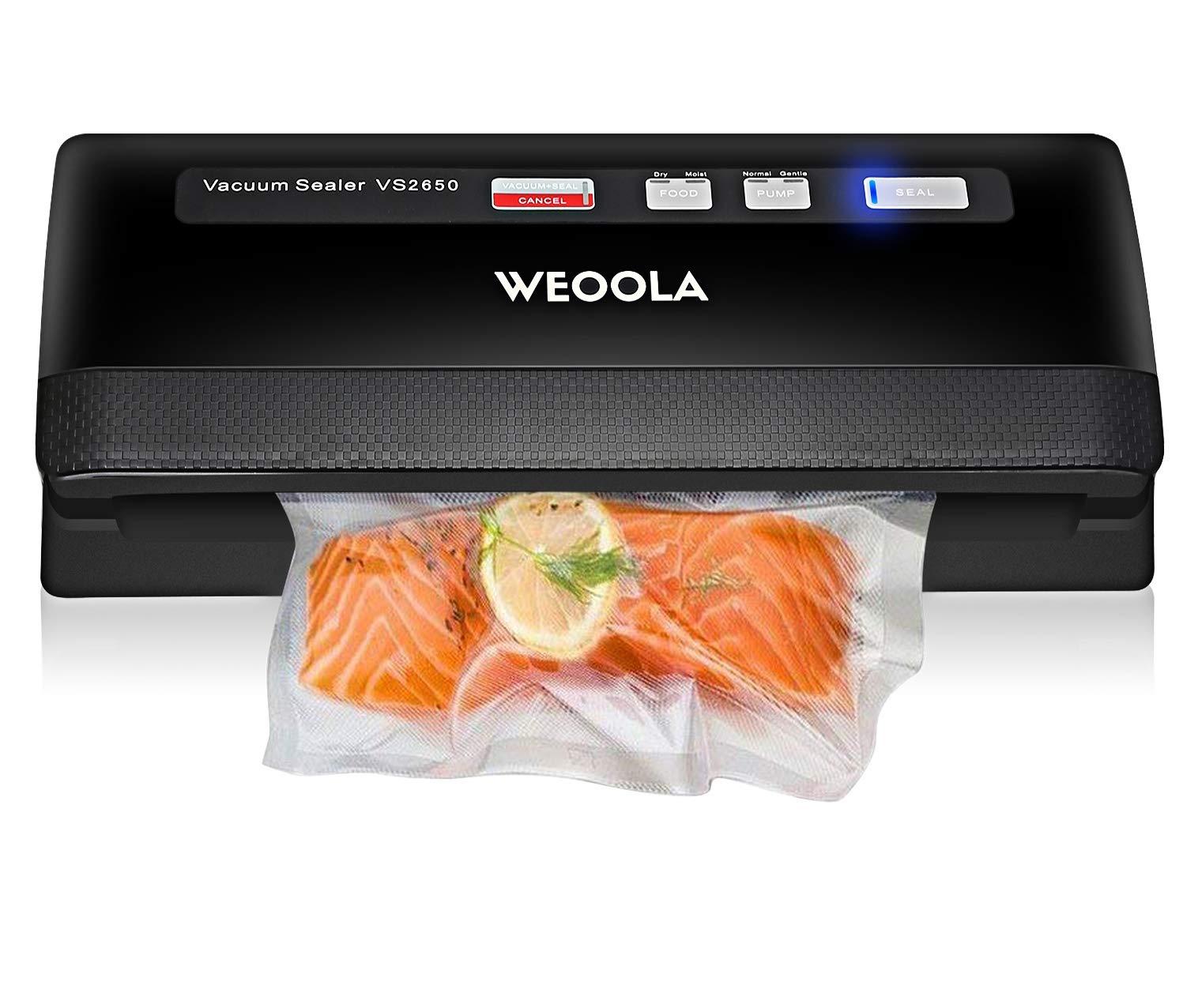 WEOOLA Vacuum Sealer Machine Foodsaver Vacuum Sealing System,Automatic Food Sealer Vacuum Packing Machine for Food Preservation,Sous Vide and Mason Jar 3 Sealing Options 4 Food Modes 10 Sealer Bags