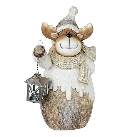 Formano – Figura Decorativa de Alce con Farol de Magnesia, Altura 43 cm, Color