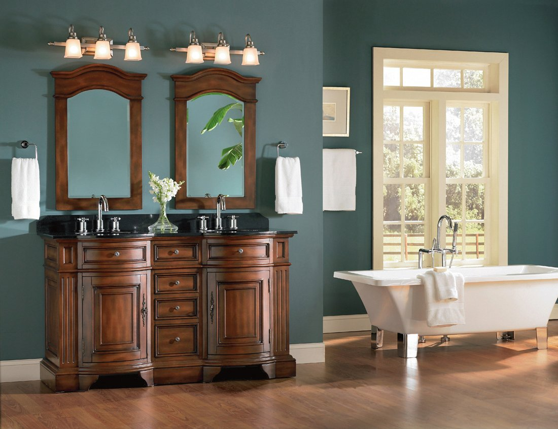 Belle Foret BF80052R Double Basin Bathroom Vanity, Dark Cherry - -  Amazon