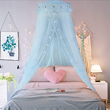 Jeteven Girl Bed Canopy Lace Mosquito Net for Girls Bed, Princess Play Tent  Reading Nook Round Lace Dome Curtains Baby Kids Games House-Blue
