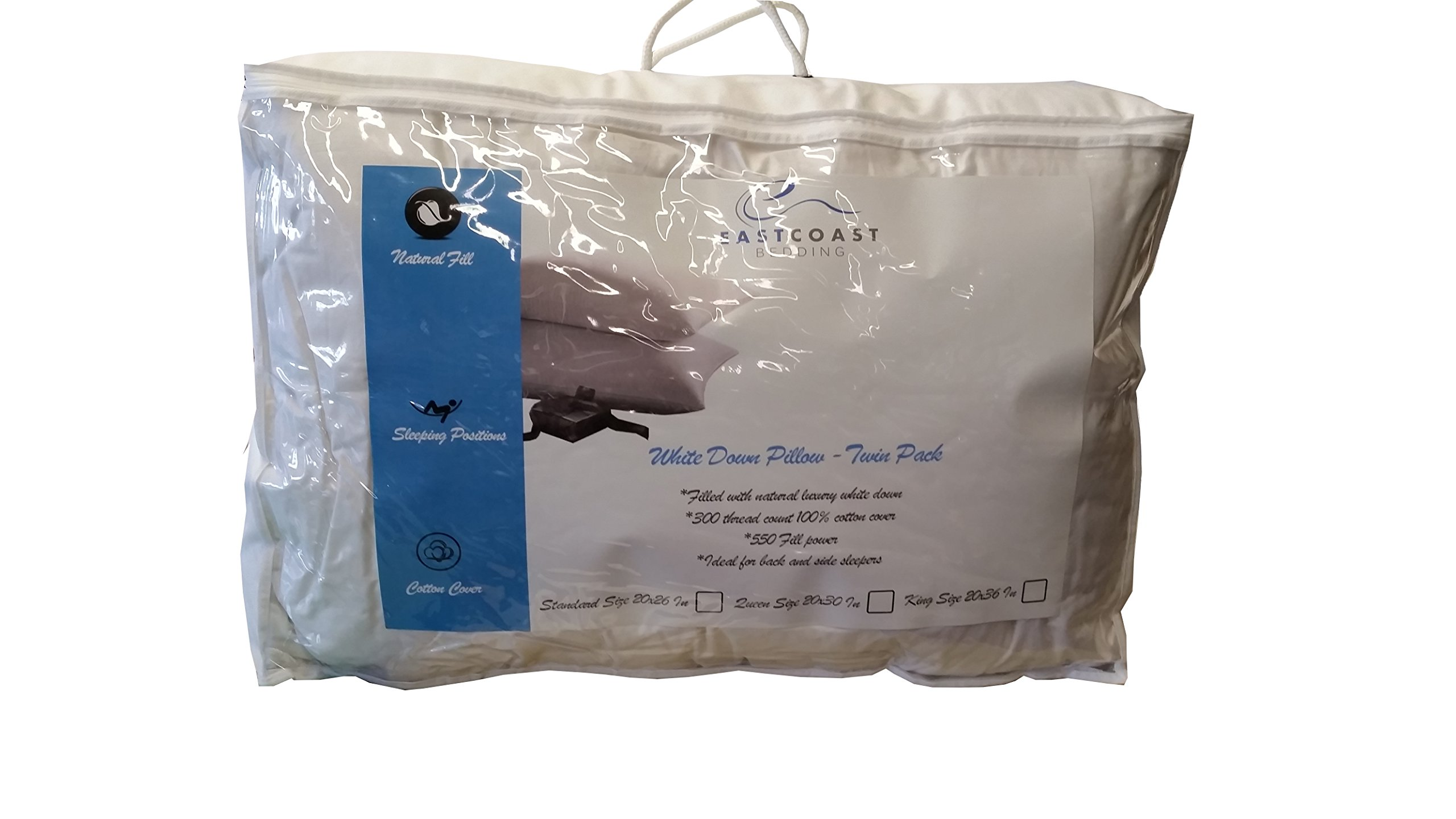 East coast bedding 100% White Down Pillow 100% Cotton Fabric 550 Fill Power - Set of 2 (Queen)