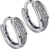 Meyiert 925 Sterling Silver Zirconia Beautiful Round Hoop Stud Earrings for Women (with Gift Box)