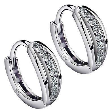 Meyiert Jewellery 925 Sterling Silver Cubic Zirconia Sparkling Stud Earrings for Women eeLPj9