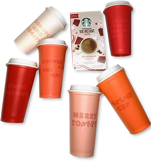NEW Starbucks 2019 Holiday Reusable Cold Cups With Straws AND Hot Cups 5 Pack