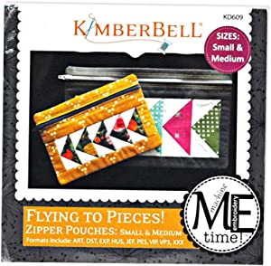 Kimberbell Flying to Pieces Zipper Pouches: Small & Medium Machine Embroidery Design CD Pattern