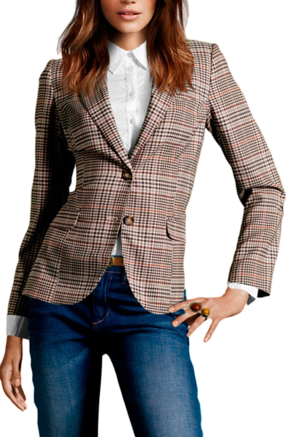 Fanvans Women Classic British Style Slim Long Sleeve Lapel Button Down Lattice Business Suit Brown S