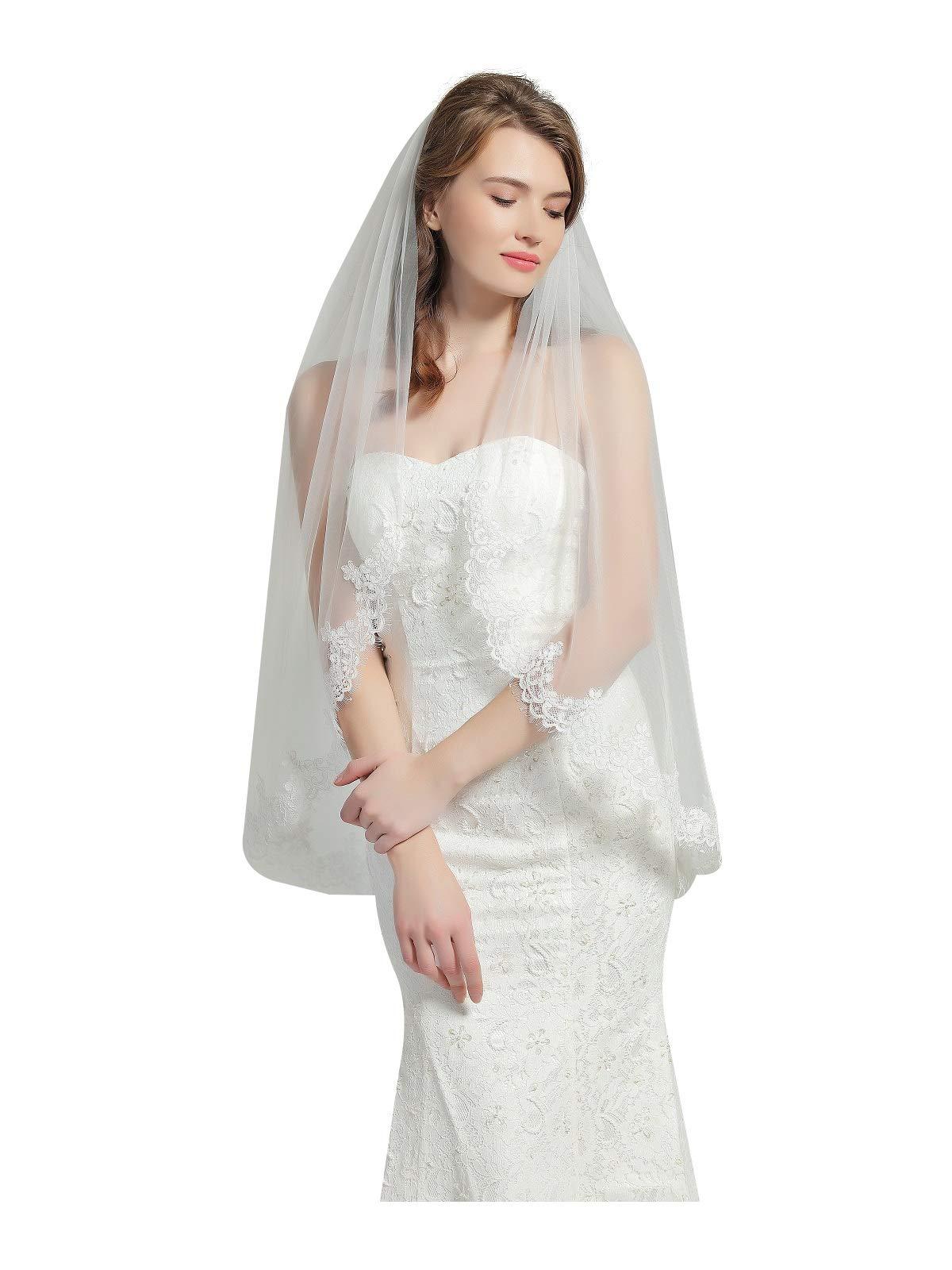 Wedding Bridal Veil with Comb 1 Tier Eyelash Lace Trim Applique Edge Fingertip Length 37'' V80-Ivory by BEAUTELICATE