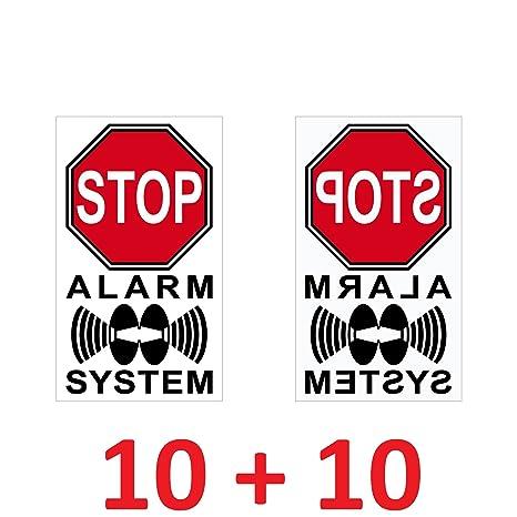 Juego adhesivos 4 cm Alerta Stop espejada Sistema de alarma ...