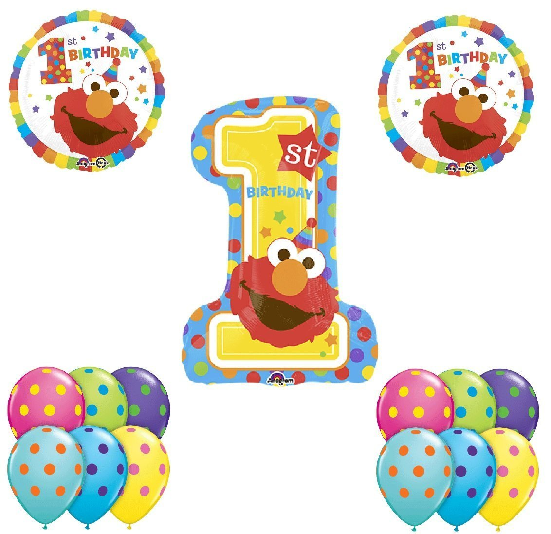 Unbekannt Elmo 1. Sesame Street 1. Elmo Geburtstag Ballon Bouquet 6a1038