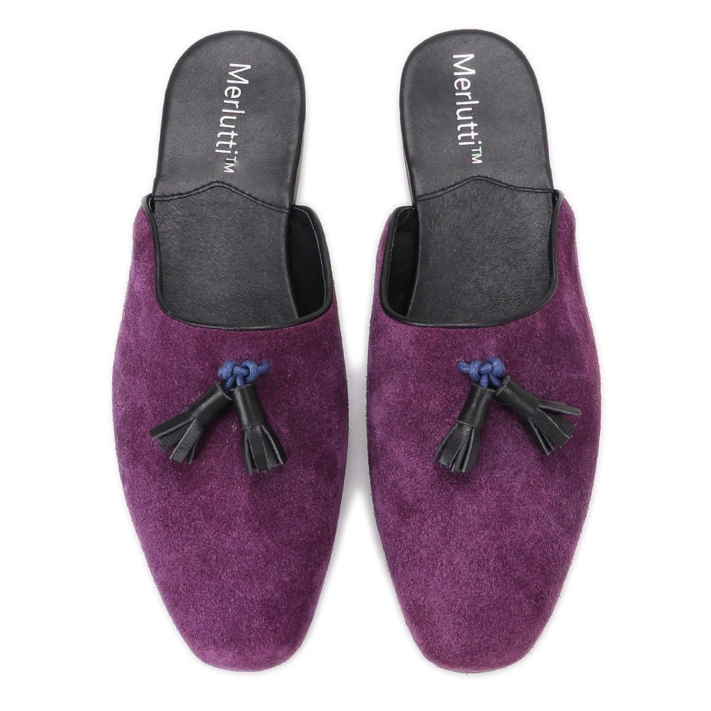 Amazon.com   Suede Loafer Mules Closed Toe Sandals for Men Leather Tassel Shoes Slip on for Men (Black, Blue, Purple)   Loafers & Slip-Ons