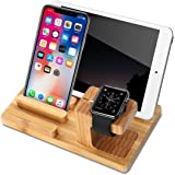 Yome Apple Watch Stand Wood Charging Dock Station with 4-Port USB, Multi-Device Organizer Stand Cradle Bamboo Holder for iWatch iPhone iPad Tablets Smart Phones