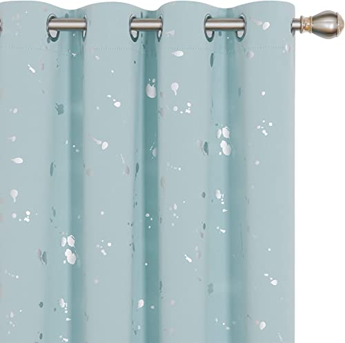 Deconovo Grommet Top Blackout Curtains Dots Foil Printed Light Blocking Window Draperies for Sliding Glass Door 52 x 108 Inch Sky Blue 2 Panels