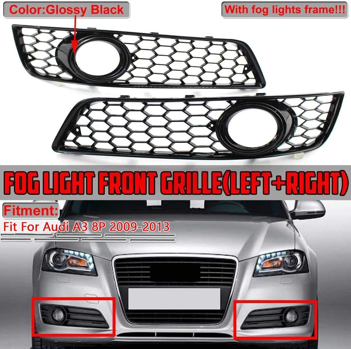 EIN Paar Auto Frontsto/ßstange Nebel-Licht-Lampe Honeycomb Grille Cover Fit for Audi A3 8P 2009-2013 Fog Light Grilles Nebelscheinwerfer Gitter Color : Chrome Silver