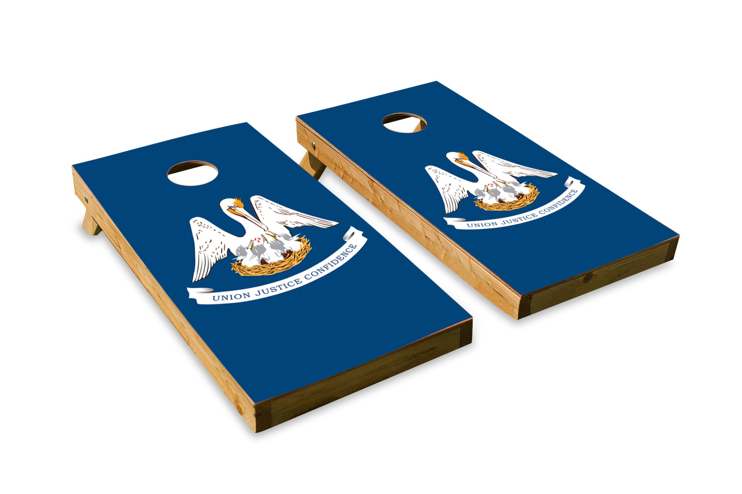 Louisiana State Flag - Cornhole Crew - ACA Regulation Size Cornhole Board Set by The Cornhole Crew