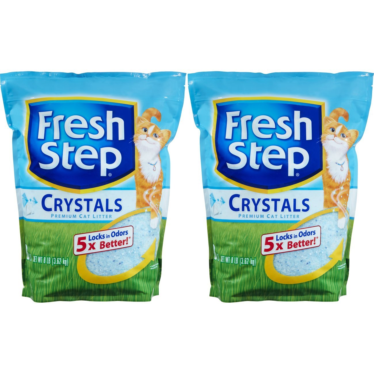 Fresh Step Crystals, Premium Cat Litter, Scented, 8 Pounds (Pack of 2)