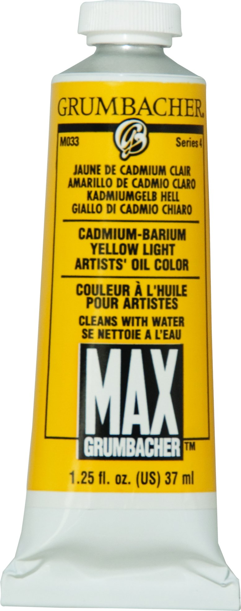 Grumbacher Max Water Miscible Oil Paint, 37ml/1.25 oz, Cadmium-Barium Yellow Light