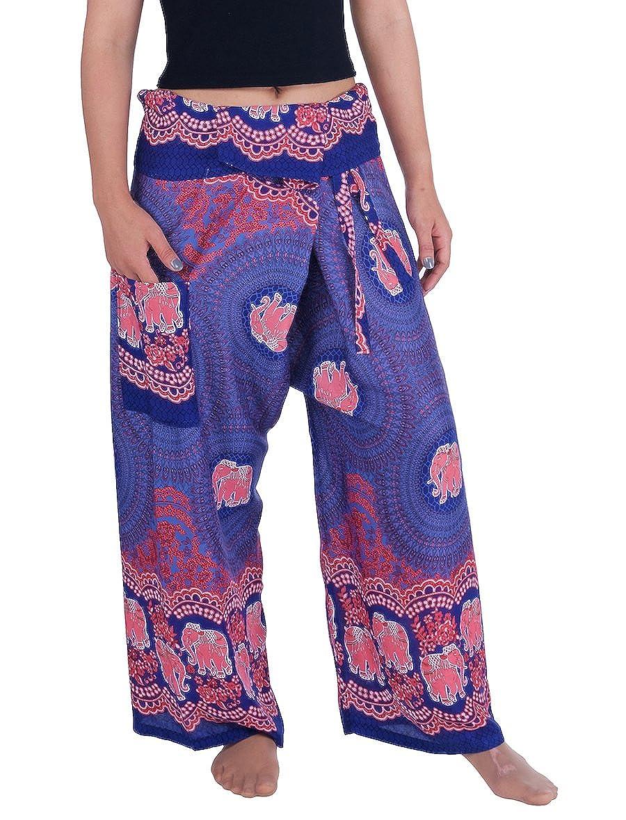 Dark bluee Elephant pink Lannaclothesdesign Women's Thai Fisherman Pants Yoga Trousers Wide Legs Pants