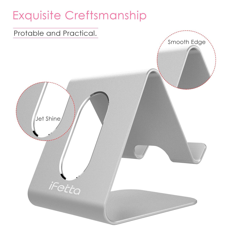 Ifecco Handy Halterung iPhone Ständer Aluminum Handy Ständer Telephone Ständer für Android Smartphone iPhone 7/6/5S/5 Galaxy S4/S5 (Neu Silber)