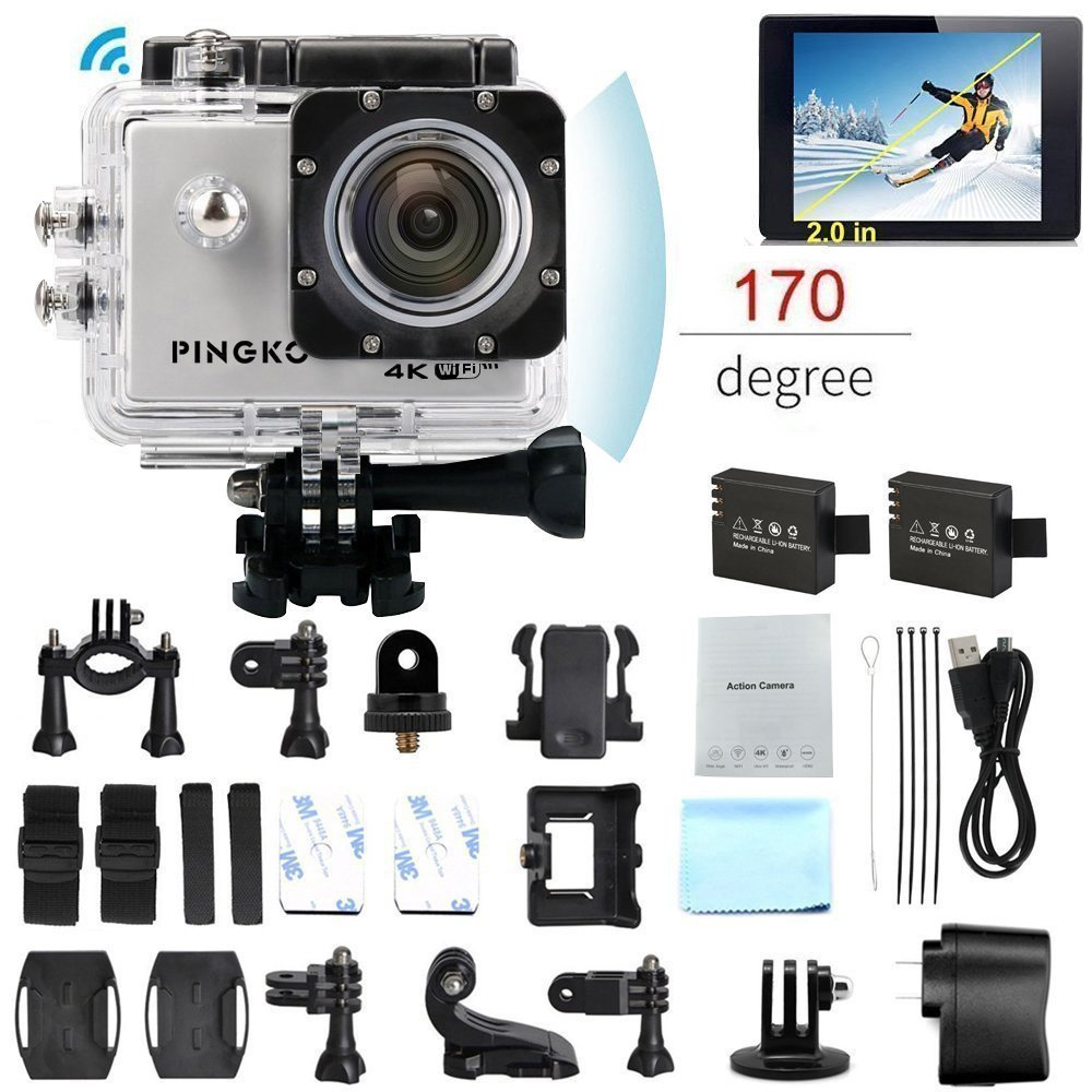 PINGKO F60 Action Camera 16MP FHD 1080P 4K Wi-Fi Waterproof Action Cam 2.0'' LCD Screen, 170°Wide-Angle Lens DV Camcorder, 2 Rechargeable Batteries,Include Full Accessories Kits