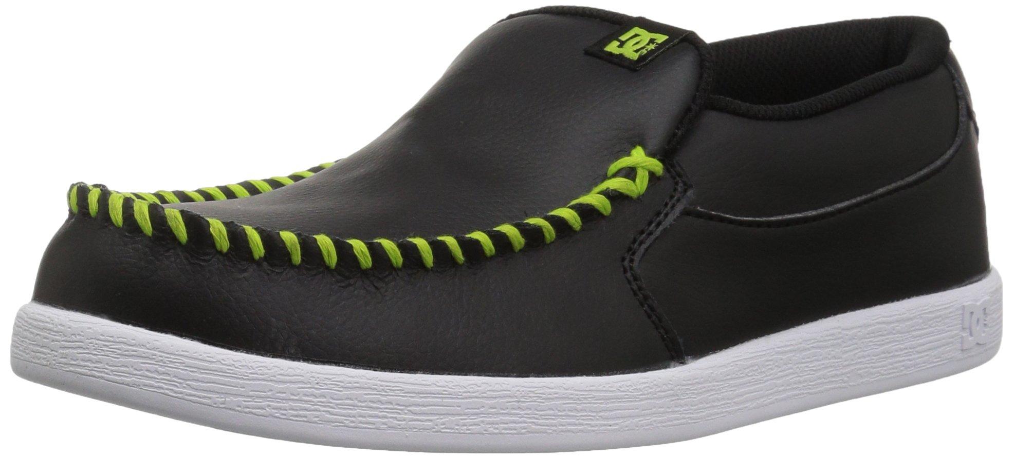 DC Boys' Villain Skate Shoe, Black/Green, 6 M US Big Kid