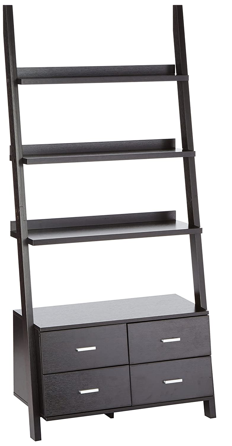 Coaster Contemporary Cappuccino Leaning Ladder Bookcase With 4 Drawers by Coaster Home Furnishings