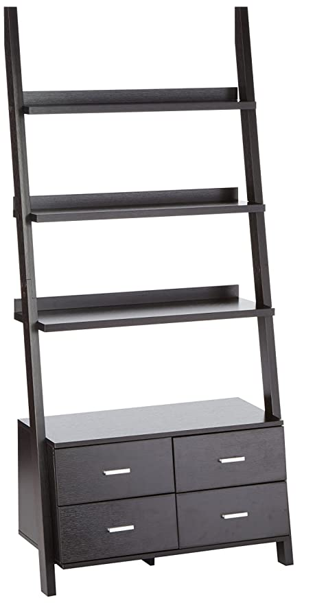 Colella Leaning 4 Drawer Ladder Bookcase Cappuccino