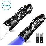 Pack de Linterna Táctica Led + Linterna UV,5 modos con Zoom,400LM, Morpilot,Linterna Ultravioleta Onda 395nm para Actividades de Acampada y Detectar Moneda/Escorpiones /Agente Fluorescente