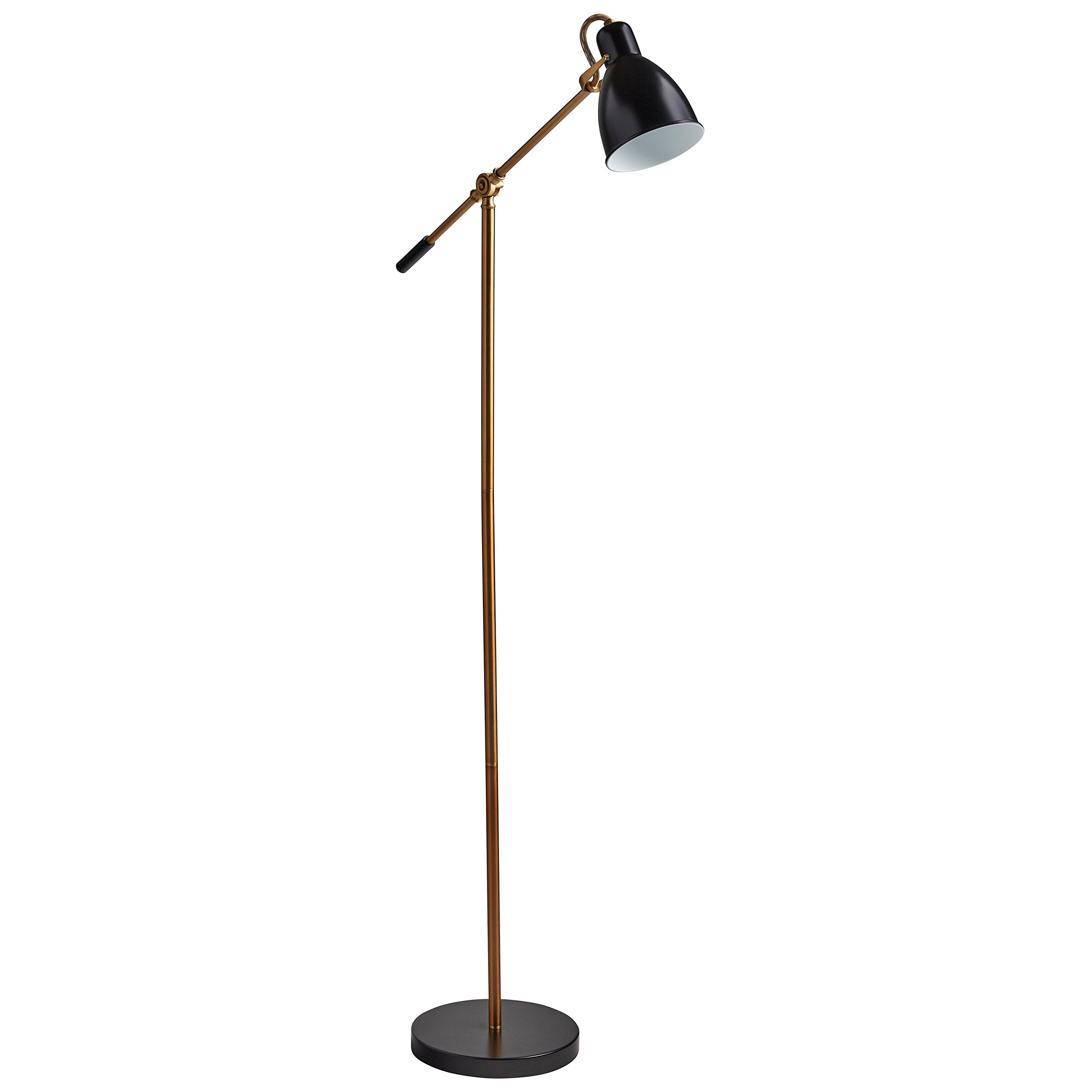 Rivet Caden Adjustable Task Floor Lamp with LED Bulb, 60''H, Black and Brass by Rivet (Image #3)