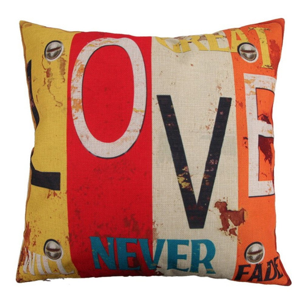 Pgojuni Creative Home Love Fashion Pillowcase Cotton Linen Decoration Throw Pillow Cover Cushion Cover Square Pillow Case for Sofa/Couch Home Decor 1pc (R)