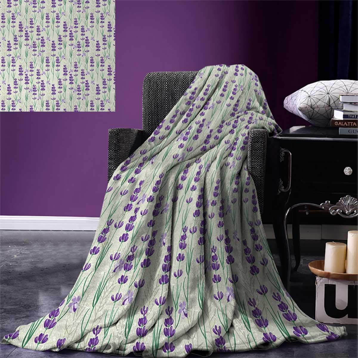 smallbeefly Lavender Throw Blanket Botanical Pattern Fresh Herbs Aromatherapy Spa Theme Warm Microfiber All Season Blanket Bed Couch 50''x30'' Pale Sage Green Violet Green