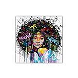 DISPLAY08Fashion colorato disegno bellezza testa ritratto tela pittura decorazione da parete, 50*50cm