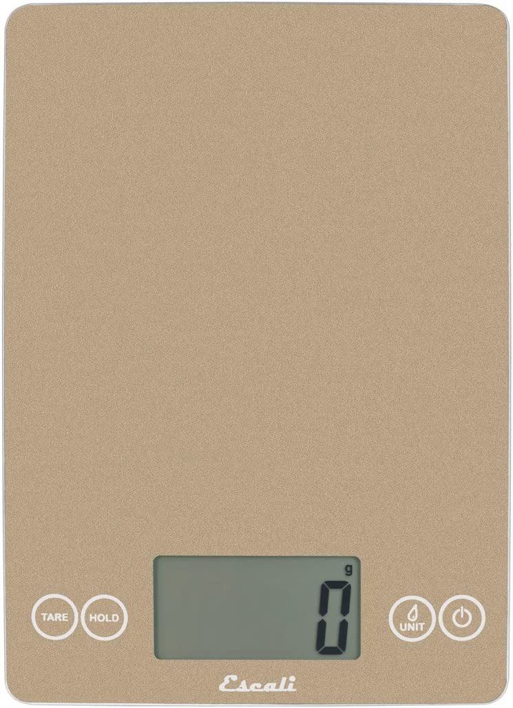 EscaliArti 157SD Glass Kitchen, Herb, Nutrition, Calorie Counting Scale, LCD Display, 15lb Capacity, Sand Dune