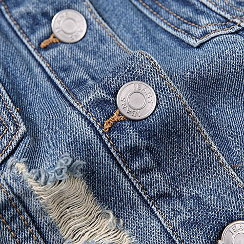 SHISHANG Chaqueta de vaquero de vaquero de la señora vaquero chaqueta de solapa corto párrafo de moda agujero vaquero chaleco de verano azul corto chaleco picture color