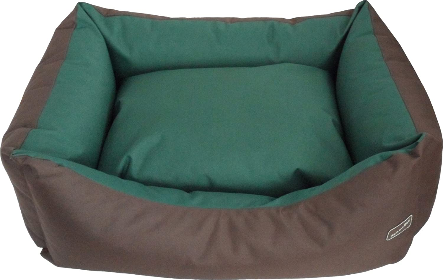 Hem and Boo Waterproof Rectangle Dog Bed, Medium, Country Green Rusty Brown