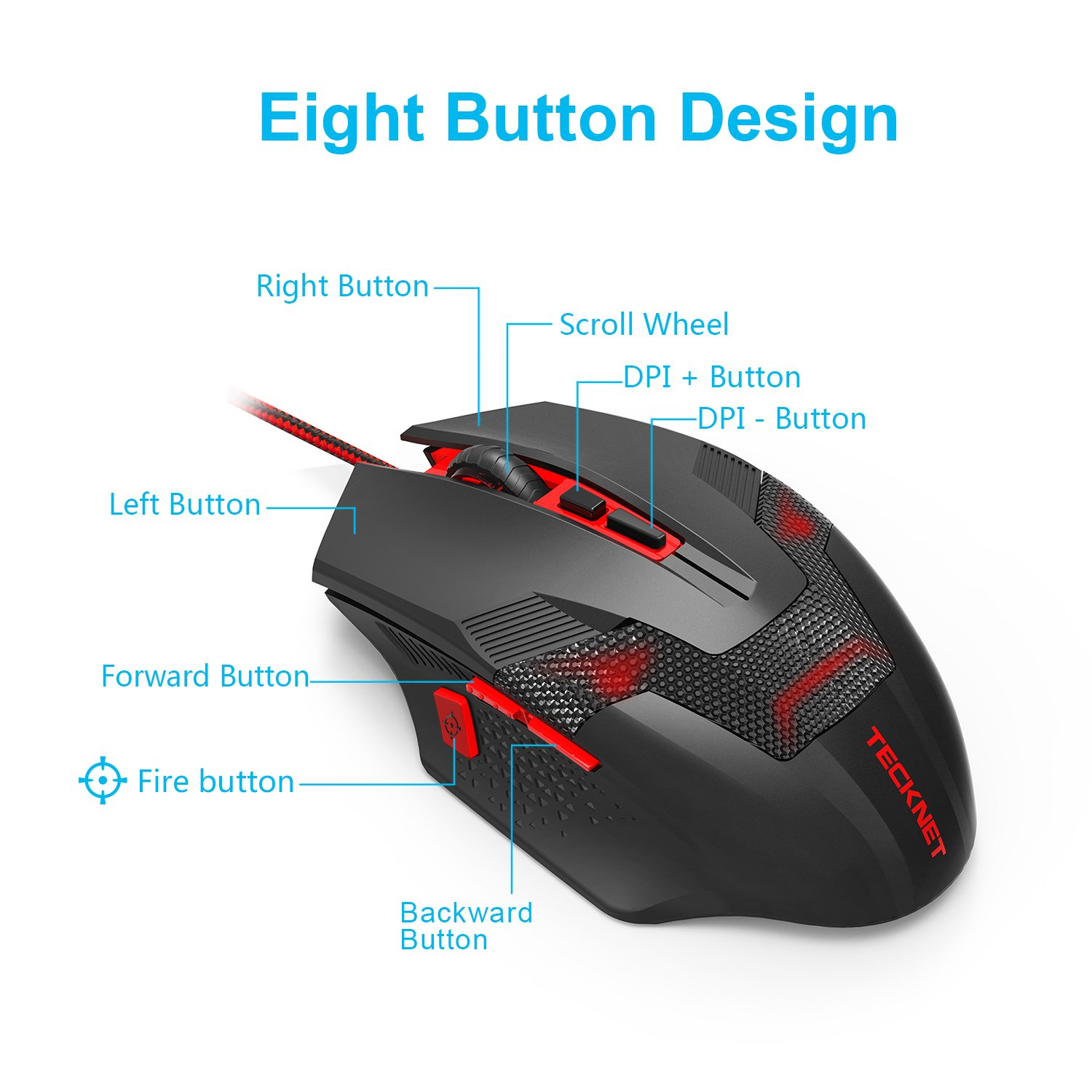 8 Breathing Light Ergonomic Design 8 Programmable Buttons Premium 7000DPI Sensor TeckNet Programmable Wired Optical Computer Gaming Mouse Extra Weight Game Mice for PC Gamer