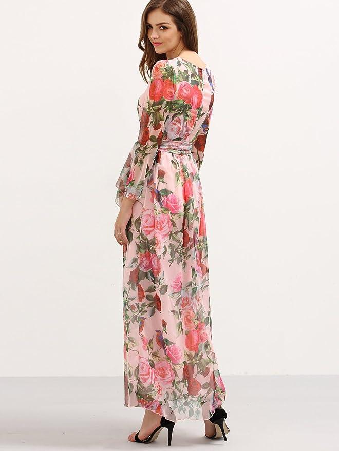 93b61eb8a5e2 Amazon.com: Floerns Women's Long Sleeve Chiffon Rose Print Spring Maxi  Dress Pink M: Home & Kitchen