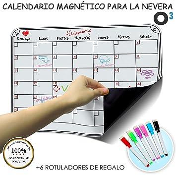 O³ Calendario Magnetico Nevera + 6 Colores Para Marcar - Pizarra Magnética Nevera Mensual – Organizador Frigorifico – Tareas – Exámenes - Eventos | ...
