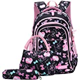 Bansusu 3Pcs Bowknot Cat Prints Elementary Girls School Bookbag Rucksack for Primary Girls School Backpack Set with Lunch Kit