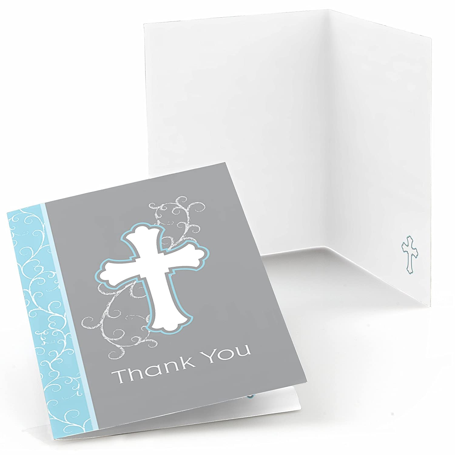 Little Miracle Boy Blue Gray Cross Baptism or Baby Shower Thank You Cards Set of 24