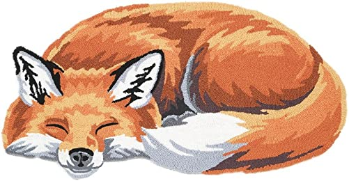 WHAT ON EARTH Sleeping Fox Hand-Hooked Accent Rug – Exclusive from