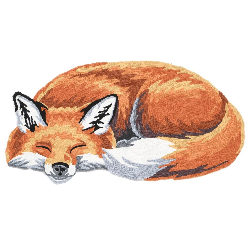 WHAT ON EARTH Sleeping Fox Hand-Hooked Accent Rug - Exclusive From