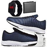 Kit Tênis Esportivo Caminhada Com Organizador, Carteira e Relógio LED Masculino DUBUY 1108DB