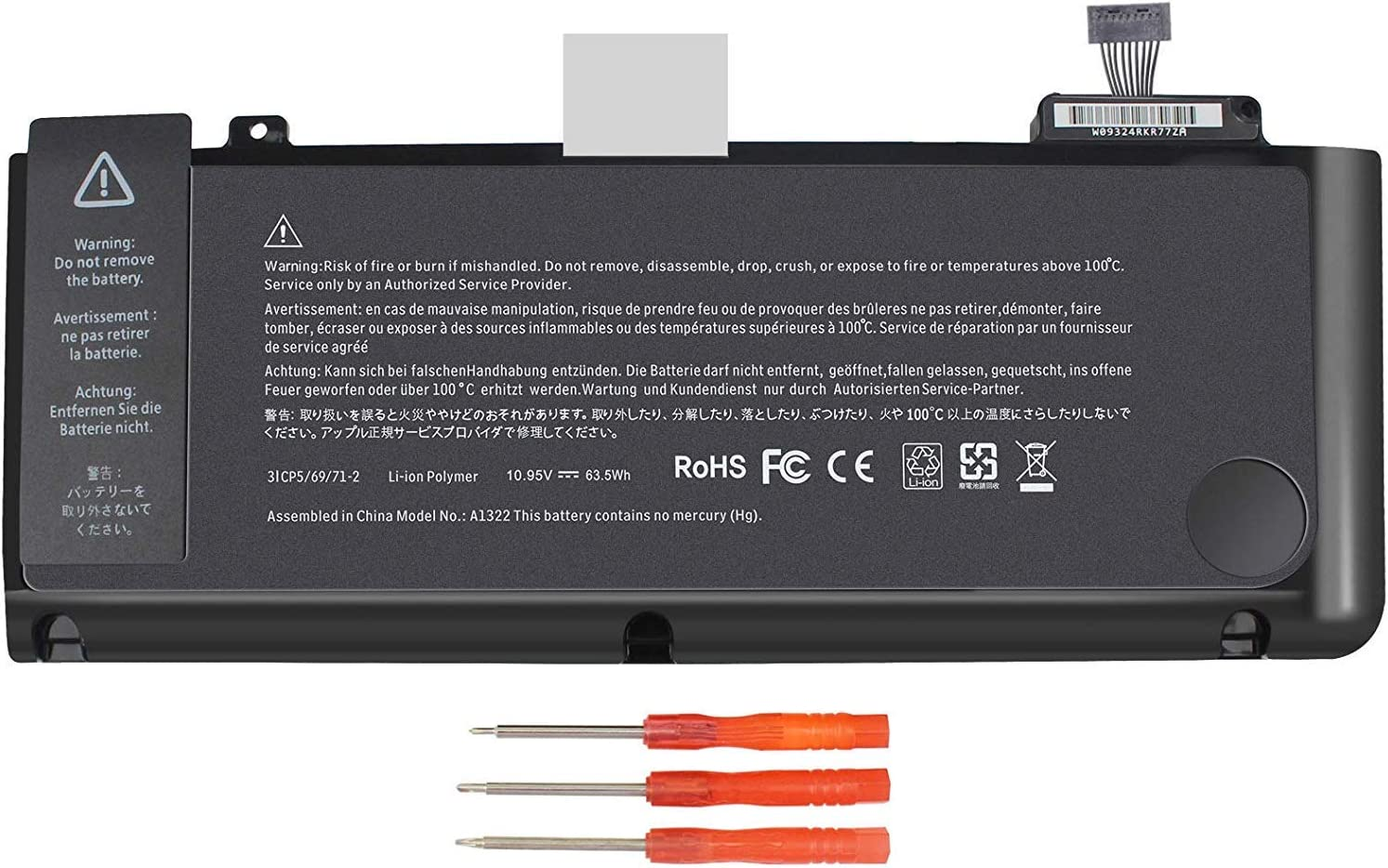 A1322 Battery for A1278 MacBook Pro 13 inch (2009 2010 2011 2012 Version) 661-5557 661-5229 MB990LL/A MB991LL/A MD313LL/A MC374LL/A MD101LL/A MD102LL/A MC700LL/A
