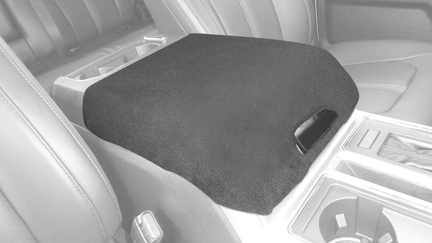AVOMAR Black Center Console Armrest Cover with Latch Opening Soft Pad Protector Cover Fits Ford F150 F250 Truck Series 2010-2018