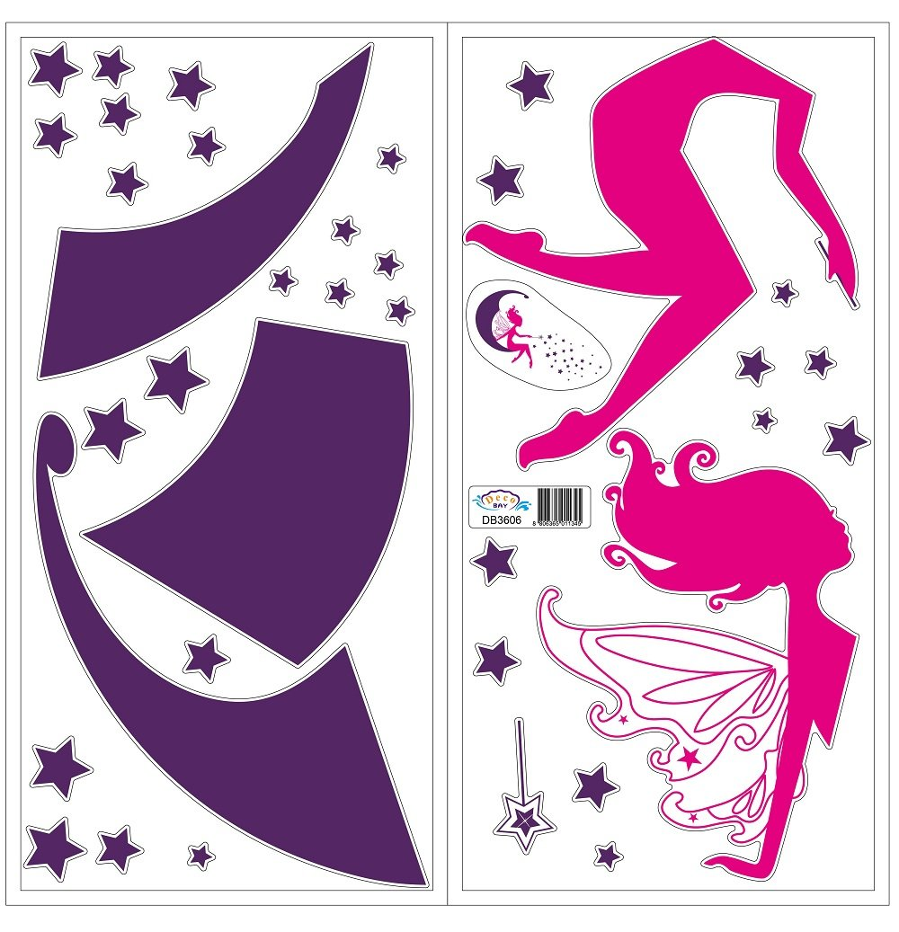 Deluxe Fairy with Magic Wand on the Moon - Removable and Re-Positionable Children's Room Art Decal Wall Stickers