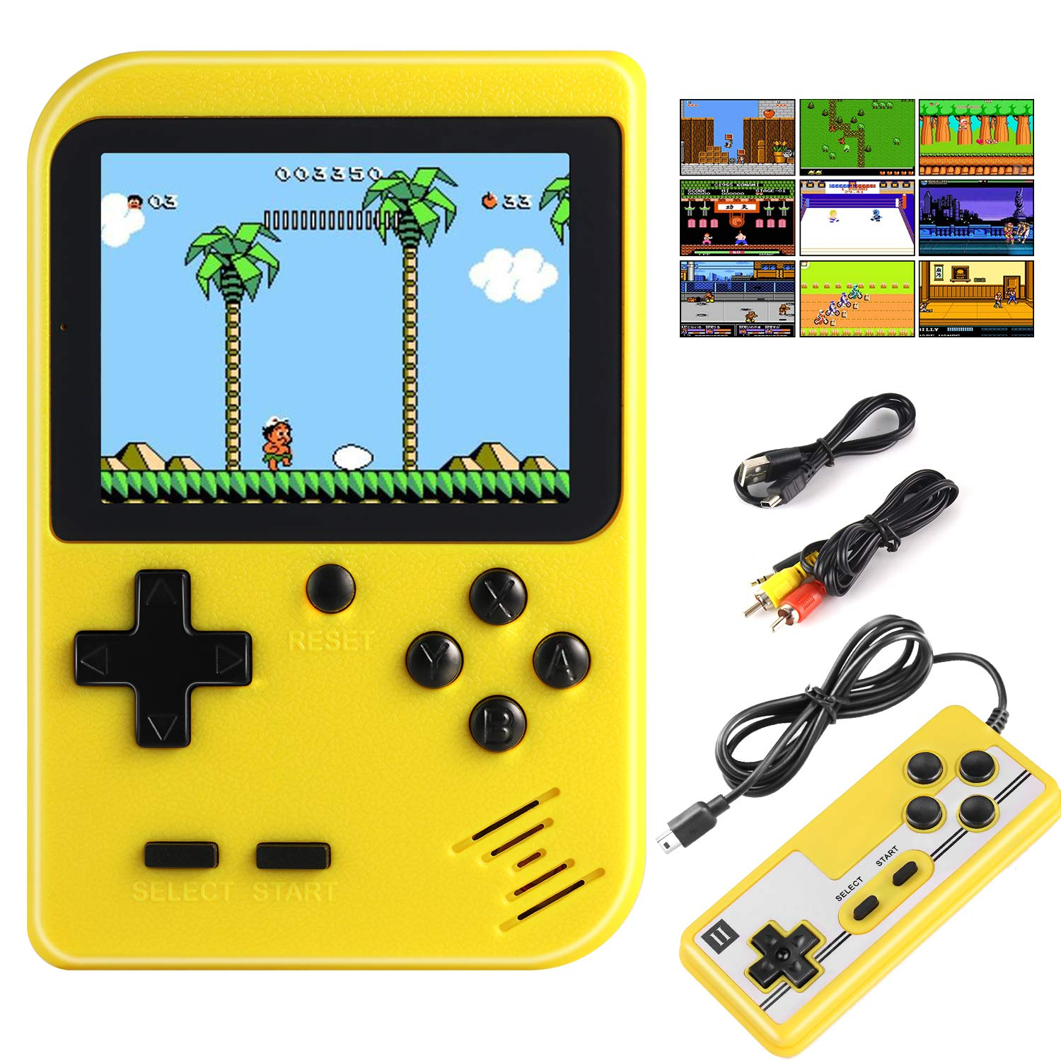 Diswoe Handheld Game Console, Portable Retro Game Player With 400 Classical FC Games 2.8-Inch Color Screen Handheld Gameboy Support TV Two Players 800mAh Rechargeable Battery Gift for Kids and Adult