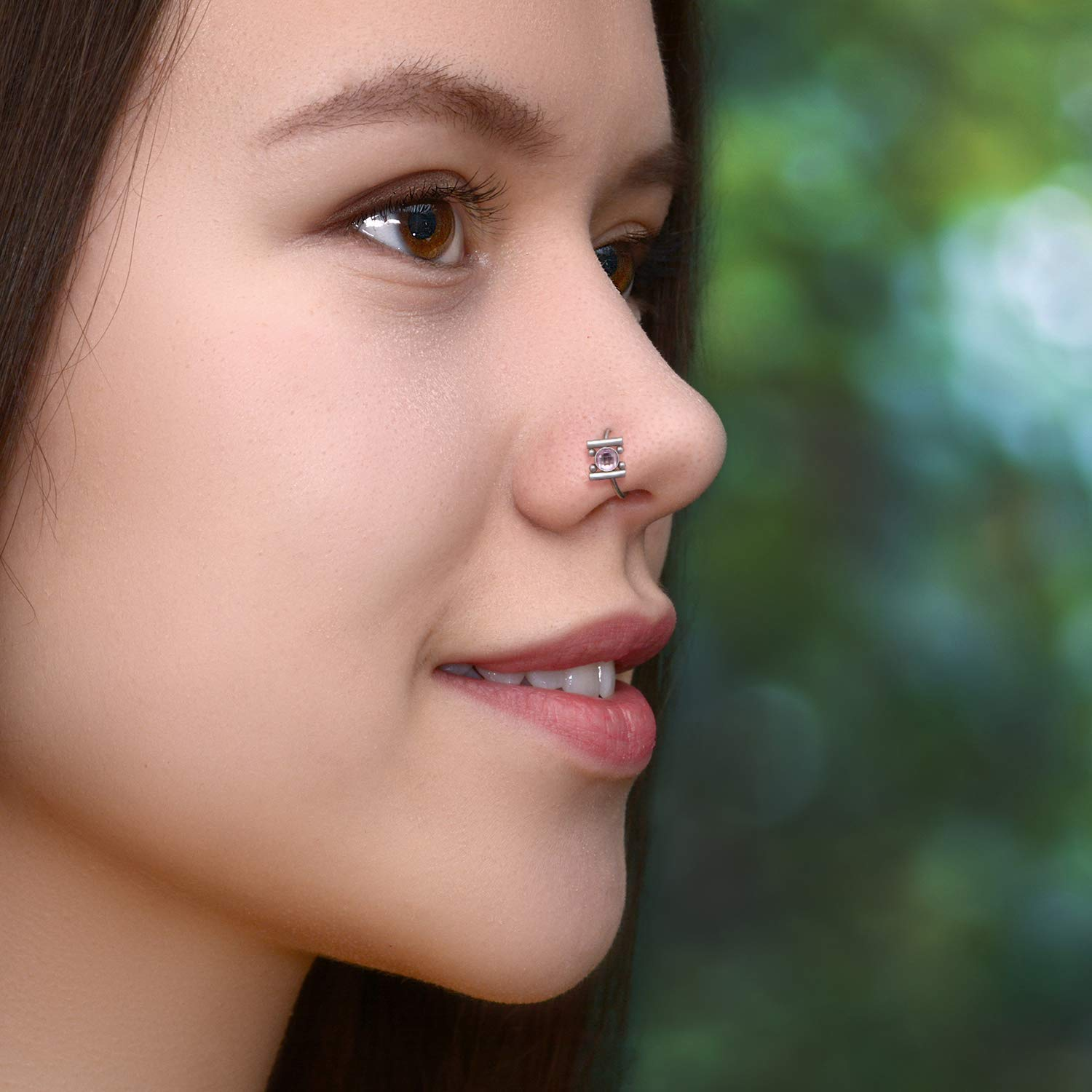 Nose Piercing Surgical Steel Nostril Hoop Jewelry Seamless Nose Hoop Body Piercing Earring Nose Ring with CZ Stones