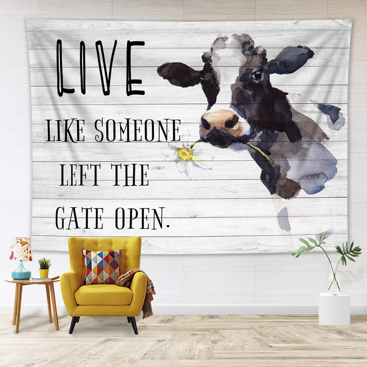 HVEST Farm Animal Tapestry Wall Hanging Decoration, Watercolor Cow with Daisy Flower and Funny Words on Rustic Wood Wall Tapestry for Dorm Living Room Bedroom, 92.5×70.9 inch Wall Blanket Beach Towels